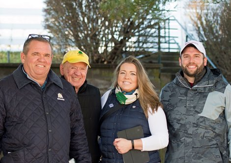 Bloodstock Investments Group: l-r, Frank Taylor, John Hall, Katie Taylor, and Joe Taylor<br> Keeneland January sales at Keeneland in Lexington, Ky., on January 5, 2019.