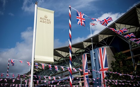 Ascot racecourse is bathed in warm sunlight ahead of the 2019 Royal meeting Ascot 17.6.19