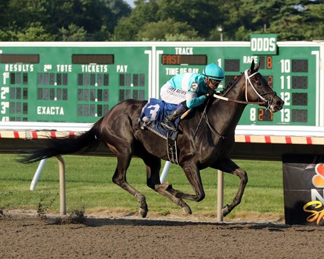Midnight Bisou with Mike Smith win the 73rd Running of The Molly Pitcher Stakes (GIII) at Monmouth Park on July 20, 2019