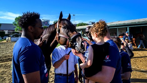 Trainer Richard Mandella, center shows off Omaha Beach to some wounded service members at Santa Anita Race Course Wednesday October 30, 2019 in Arcadia, CA.