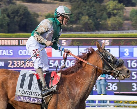 Blue Prize and Joe Bravo win the Breeders' Cup Longines Distaff (G1) on Nov. 2, 2019 Santa Anita in Arcadia, Ca.