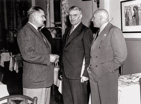 Harry Anslinger (right) at a National State Racing Commissioners dinner at Hackney's in Miami, Fla. He's joined by Dr. J.G. Catlett (left), chief vet of New York and Florida; and George Foster, secretary of the Chicago Racing Commission