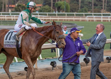 Congratulations for Blue Prize with Joe Bravo wins Distaff at the Breeders' Cup at Santa Anita Park on November 2, 2019 in Arcadia, California