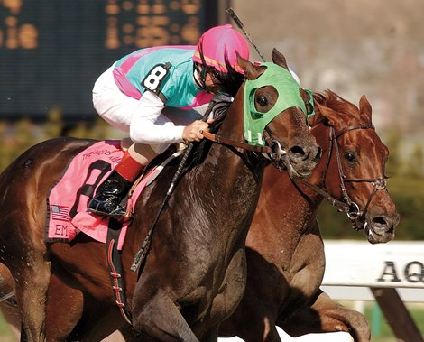 Empire Maker outduels Funny Cide to win the Wood Memorial at Aqueduct Park April 12, 2003.