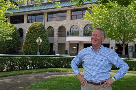 Caption: Bill Thomason with Keeneland, ecorche statue in background.<br> Bill Thomason at Keeneland in Lexington, Ky., on June 19, 2020 Keeneland in Lexington, KY.