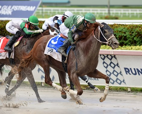 Go Jo Jo Go wins the 2020 FTBOA Florida Sire Desert Vixen Stakes at Gulfstream Park