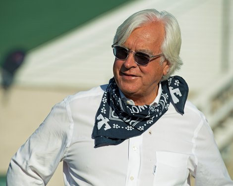 Bob Baffert talking with media outside barn.<br> The morning after Authentic wins the Kentucky Derby (G1) at Churchill Downs, Louisville, KY on September 5, 2020.