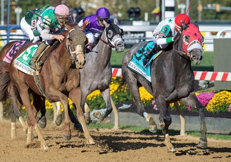 Miss Marissa with jockey Daniel Centeno aboard out duels Bonny South with Florent Geroux to win the George E. Mitchell Black-Eyed Susan(GII) Saturday Oct 3, 2020 at Pimlico Race Course in Baltimore, MD.
