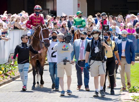 Shedaresthedevil and Florent Geroux at Churchill Downs on April 30, 2021.