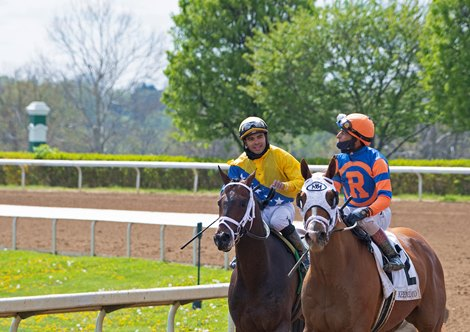 (L-R): Sometimes Always with Luis Saez, and French Toast with John Velazquez after Race 6.<br> Scenes at Keeneland near Lexington, Ky., on April 15, 2021. .