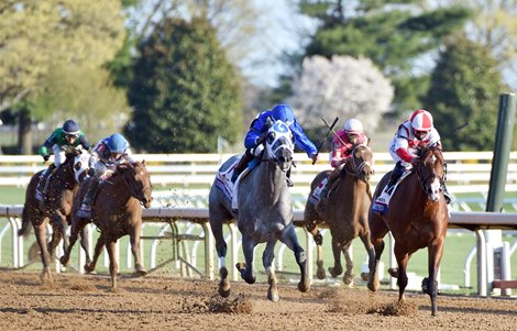 April 3, 2021: Essential Quality, Luis Saez up, holds off Highly Motivated to win the 97th running of the Gr.2 Blue Grass Stakes