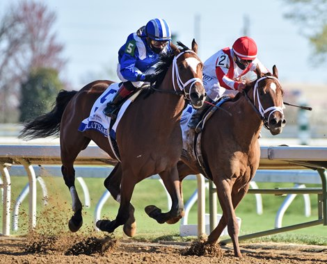 April 3, 2021: Malathaat (#5) Joel Rosario up, battles with Pass The Champagne, and wins the Gr.1 Ashland Stakes at Keeneland