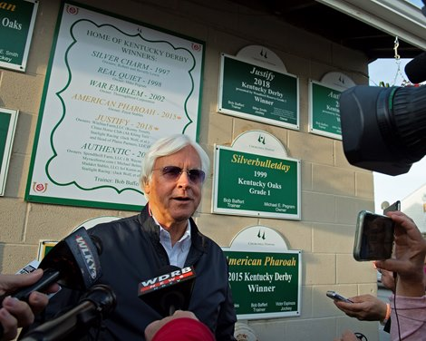 Bob Baffert talking with media on Medina Spirit the morning after winning the Kentucky Derby (G1). Kentucky Derby and Oaks horses, people and scenes at Churchill Downs in Louisville, Ky., on May 2, 2021.