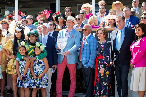 Winning connections of Flagstaff and Luis Saez in the winner's circle after win of the Churchill Downs (G1) at Churchill Downs in Louisville, Kentucky on May 1, 2021.