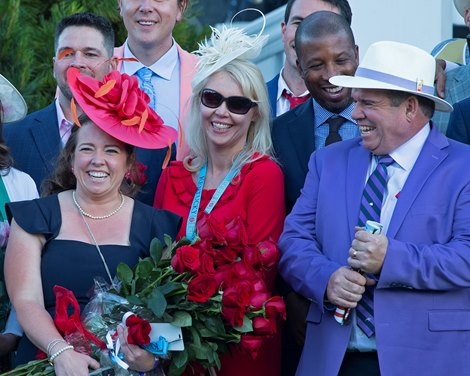 (L-R): Katie Taylor, Frances Relihan, and Frank Taylor. Medina Spirit in Kentucky Derby (G1)<br>