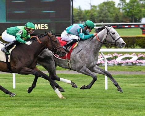 Harvey's Lil Goil wins the 2021 Beaugay Stakes at Belmont Park