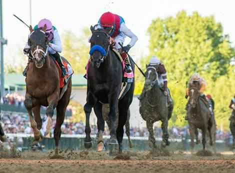 Medina Spirit with jockey John Velazquez aboard wins the 147th running of The Kentucky Derby at Churchill Downs Race Track Saturday May 1, 2021 in Louisville, Kentucky.