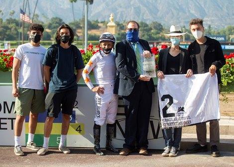 Phoenix Thoroughbred III&#39;s Crazy Beautiful and jockey Mike Smith win the Grade II Summertime Oaks Sunday, May 30, 2021 at Santa Anita Park, Arcadia, CA.<br> Benoit Photo