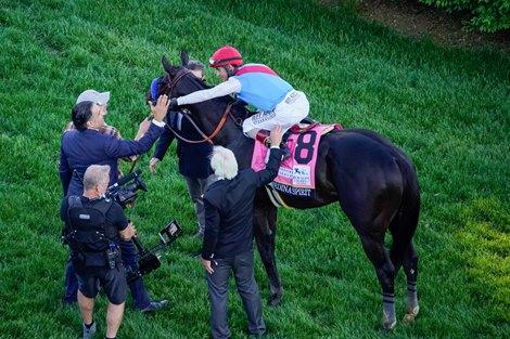 Medina Spirit with John R. Velazquez wins the Kentucky Derby (G1) at Churchill Downs in Louisville, Kentucky on May 1, 2021.
