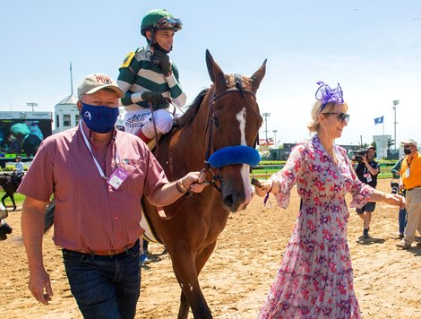 (L-R): Roberto Luna, John Velazquez with Gamine, and Charlene Petersen after their win of the Derby City Distaff (G1) at Churchill Downs in Louisville, Kentucky on May 1, 2021.