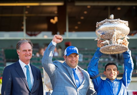 (L-R): Jimmy Bell, Brad Cox, Luis Saez. Essential Quality with Luis Saez wins the Belmont Stakes (G1) at Belmont Park on June 5, 2021.