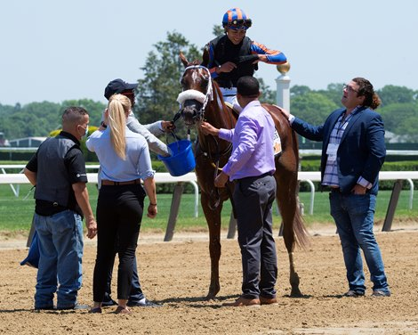 Drain the Clock with jockey Jose Ortiz aboard wins the 37th running of The Woody Stephens on Belmont Stakes Day at Belmont Park Saturday June 5, 2021 in Elmont, N.Y.
