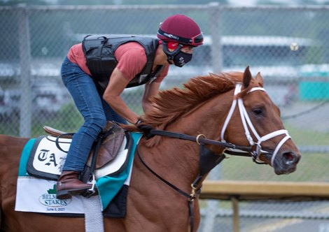 Known Agenda on the training track at Belmont Park for morning exercise in advance of the Belmont StakesThursday June 3, 2021 in Elmont, N.Y. . Photo by Skip Dickstein