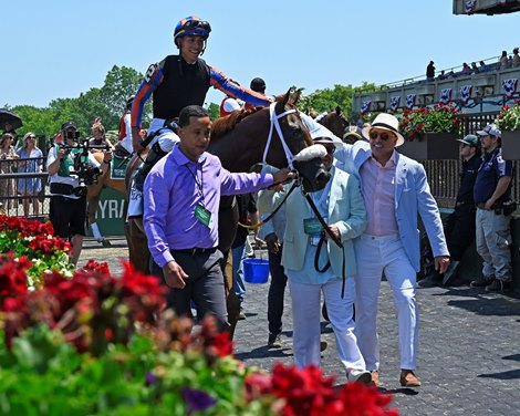 Drain the Clock with Jose Ortiz wins the Woody Stephens Stakes (G1) Presented by Nassau County Industrial Development Agency at Belmont Park on June 5, 2021.