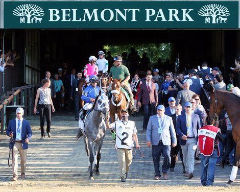 Essential Quality with Luis Saez head to the track prior to winning the 153rd Running of The Belmont Stakes at Belmont Park on June 5, 2021