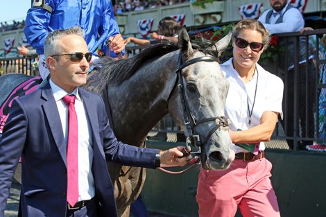 Althiqa with Mike Smith win the 28th Running of The Just A Game (GI) at Belmont Park on June 5, 2021
