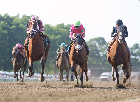 #9 Graceful Princess with Joel Rosario riding won the $250,000 Grade III Molly Pitcher Stakes at Monmouth Park Racetrack in Oceanport, NJ on Saturday July 17, 2021. Photo By Emily Pszeniczny/EQUI-PHOTO